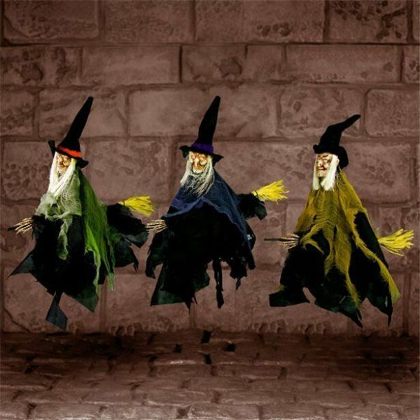 Halloween Hanging Witchs on Broom - 40cm (3 pack)